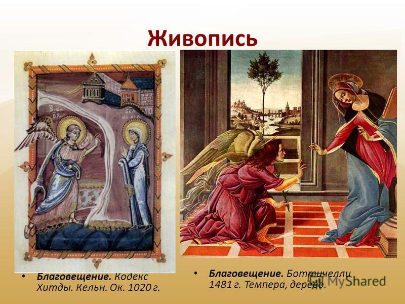 Живопись Благовещение. Кодекс Хитды. Кельн. Ок. 1020 г. Благовещение. Боттичелли 1481 г. Темпера, дерево.