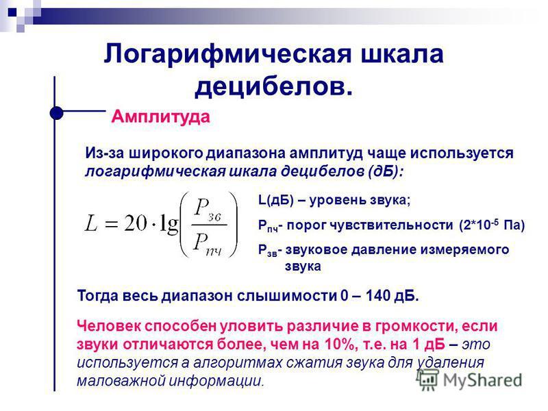 Логарифмическая шкала децибелов. Амплитуда L(дБ) – уровень звука; Р пч - порог чувствительности (2*10 -5 Па) Р зв - звуковое давление измеряемого звука Из-за широкого диапазона амплитуд чаще используется логарифмическая шкала децибелов (дБ): Тогда ве