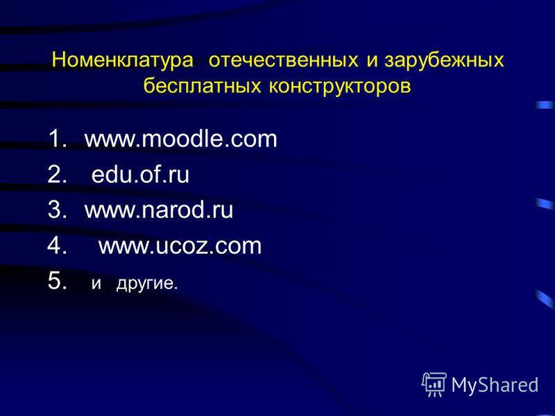 Номенклатура отечественных и зарубежных бесплатных конструкторов 1.www.moodle.com 2. edu.of.ru 3.www.narod.ru 4. www.ucoz.com 5. и другие.