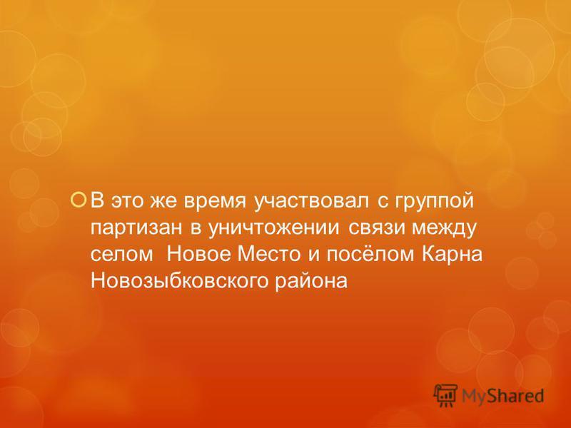 В это же время участвовал с группой партизан в уничтожении связи между селом Новое Место и посёлом Карна Новозыбковского района