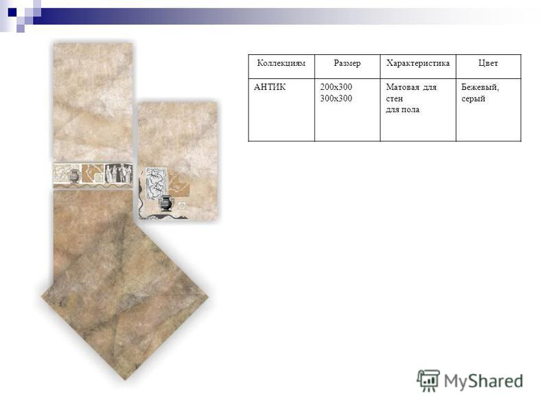 Коллекциям РазмерХарактеристика Цвет АНТИК200 х 300 300 х 300 Матовая для стен для пола Бежевый, серый