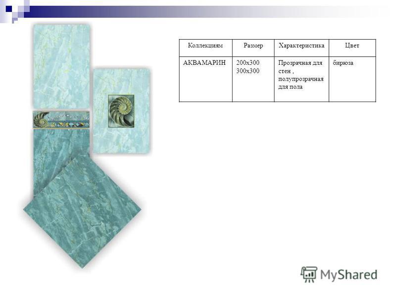Коллекциям РазмерХарактеристика Цвет АКВАМАРИН200 х 300 300 х 300 Прозрачная для стен, полупрозрачная для пола бирюза