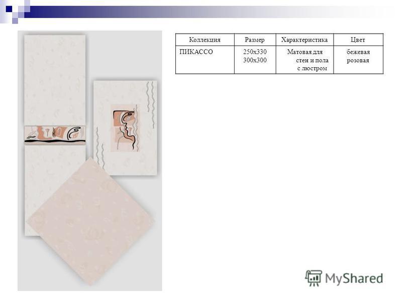 Коллекция РазмерХарактеристика Цвет ПИКАССО250 х 330 300 х 300 Матовая для стен и пола с люстрам бежевая розовая