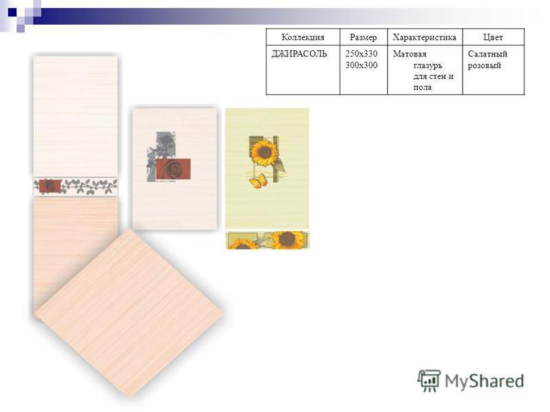 Коллекция РазмерХарактеристика Цвет ДЖИРАСОЛЬ250 х 330 300 х 300 Матовая глазурь для стен и пола Салатный розовый