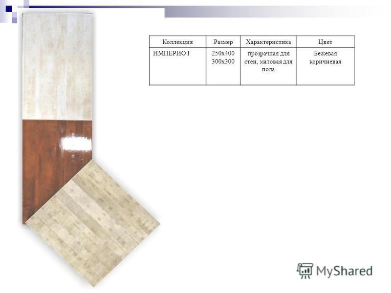 Коллекция РазмерХарактеристика Цвет ИМПЕРИО I250 х 400 300 х 300 прозрачная для стен, матовая для пола Бежевая коричневая