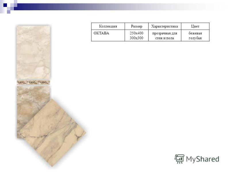Коллекция РазмерХарактеристика Цвет ОКТАВА250 х 400 300 х 300 прозрачная для стен и пола бежевая голубая