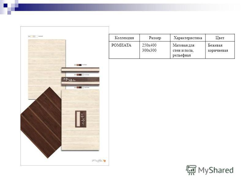 Коллекция РазмерХарактеристика Цвет РОМИАТА250 х 400 300 х 300 Матовая для стен и пола, рельефная Бежевая коричневая
