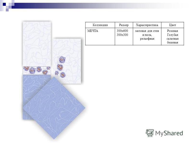 Коллекция РазмерХарактеристика Цвет МЕЧТА300 х 600 300 х 300 матовая для стен и пола, рельефная Розовая Голубая салатная бежевая