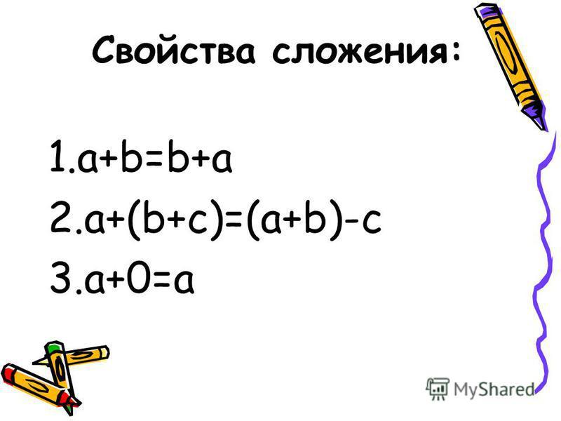 Свойства сложения: 1.a+b=b+a 2.a+(b+c)=(a+b)-c 3.a+0=a