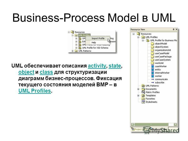 Business-Process Model в UML UML обеспечивает описания activity, state, object и class для структуризации диаграмм бизнес-процессов. Фиксация текущего состояния моделей BMP – в UML Profiles.activitystate objectclass UML Profiles