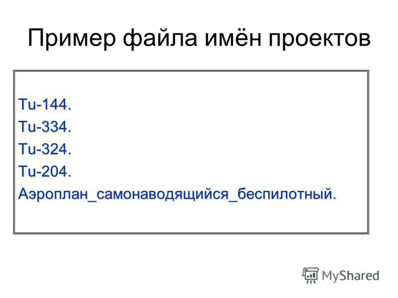 Пример файла имён проектов Tu-144. Tu-334. Tu-324. Tu-204. Аэроплан_самонаводящийся_беспилотный.