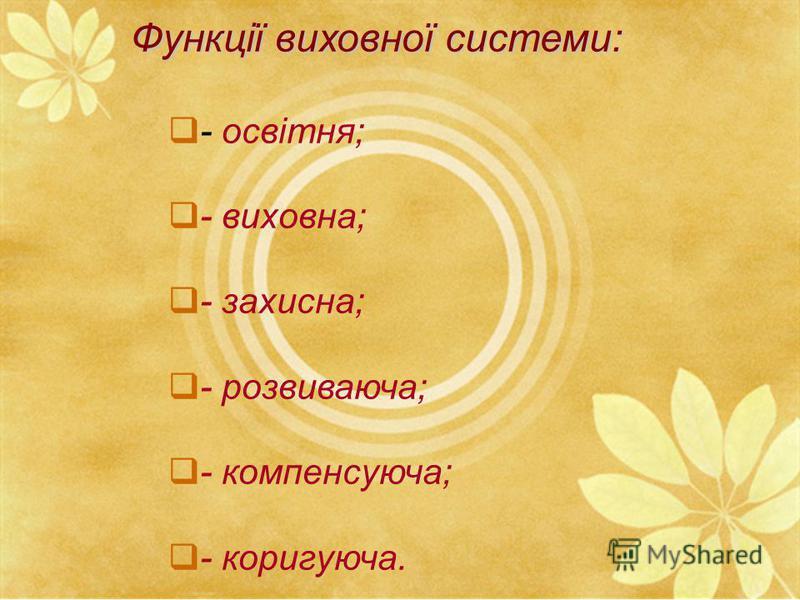Функції виховної системи: - освітня; - виховна; - захисна; - розвиваюча; - компенсуюча; - коригуюча.