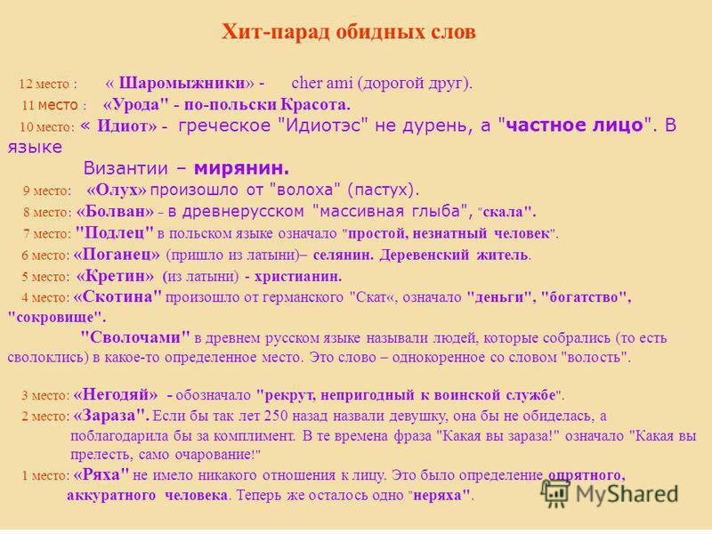 Хит-парад обидных слов 12 место : « Шаромыжники» - cher ami (дорогой друг). 11 место : «Урода