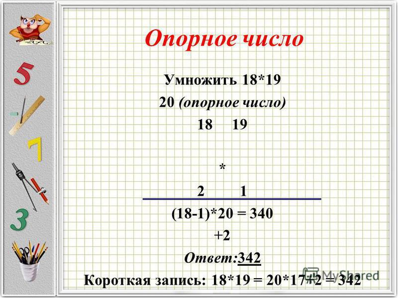 Опорное число Умножить 18*19 20 (опорное число) 18 19 * 2 1 (18-1)*20 = 340 +2 Ответ:342 Короткая запись: 18*19 = 20*17+2 = 342