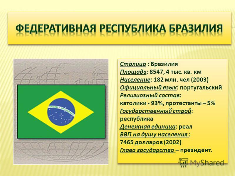 Столица : Бразилия Площадь : 8547, 4 тыс. кв. км Население : 182 млн. чел (2003) Официальный язык : португальский Религиозный состав : католики - 93%, протестанты – 5% Государственный строй : республика Денежная единица : реал ВВП на душу населения :