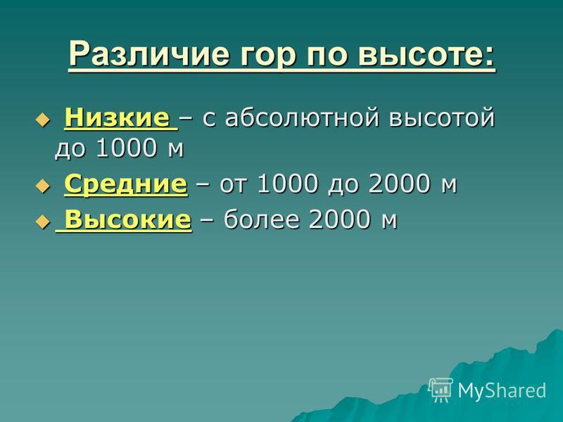 Различие гор по высоте: Низкие – с абсолютной высотой до 1000 м Низкие – с абсолютной высотой до 1000 м Средние – от 1000 до 2000 м Средние – от 1000 до 2000 м Высокие – более 2000 м Высокие – более 2000 м