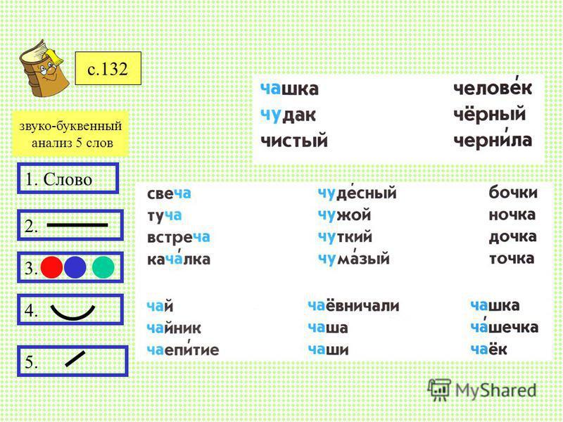 с.132 1. Слово 2. 3. 4. 5. звуко-буквенный анализ 5 слов