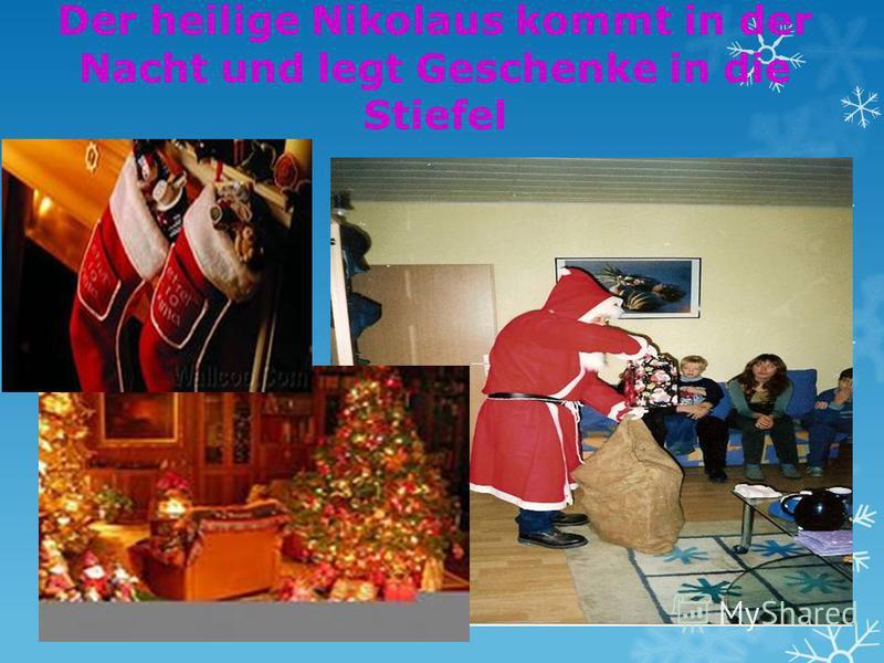 Der heilige Nikolaus kommt in der Nacht und legt Geschenke in die Stiefel