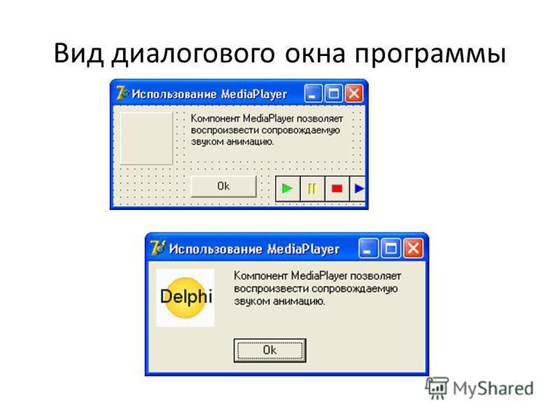 Вид диалогового окна программы