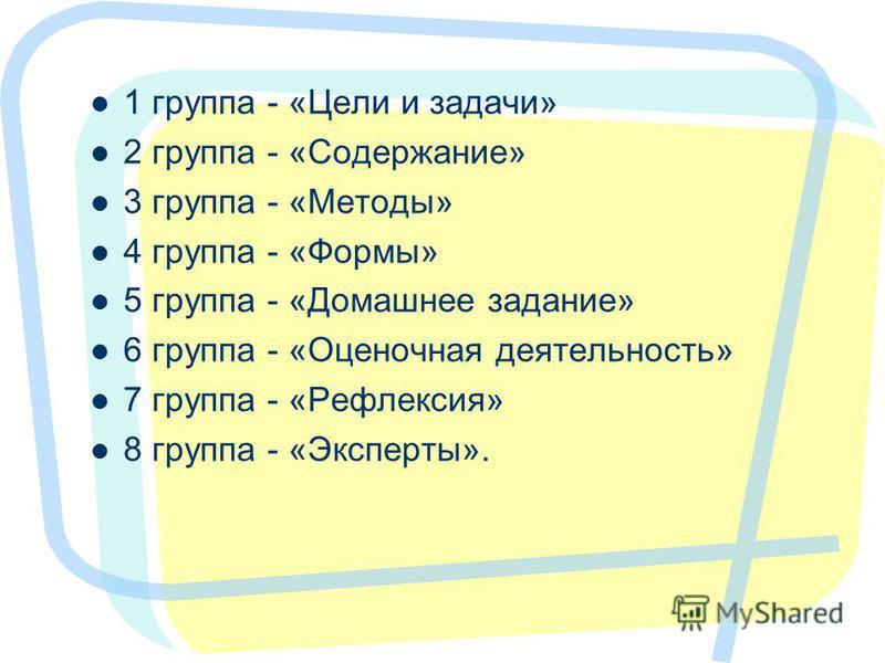 1 группа - «Цели и задачи» 2 группа - «Содержание» 3 группа - «Методы» 4 группа - «Формы» 5 группа - «Домашнее задание» 6 группа - «Оценочная деятельность» 7 группа - «Рефлексия» 8 группа - «Эксперты». 22