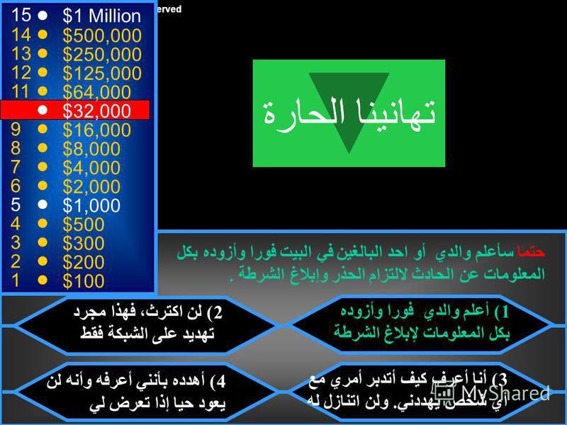 © Mark E. Damon - All Rights Reserved 15 14 13 12 11 10 9 8 7 6 5 4 3 2 1 $1 Million $500,000 $250,000 $125,000 $64,000 $32,000 $16,000 $8,000 $4,000 $2,000 $1,000 $500 $300 $200 $100 وصلك بريد إلكتروني باسمك الخاص من مجهول يهددك بأنه سيتعرض لك ولن ت