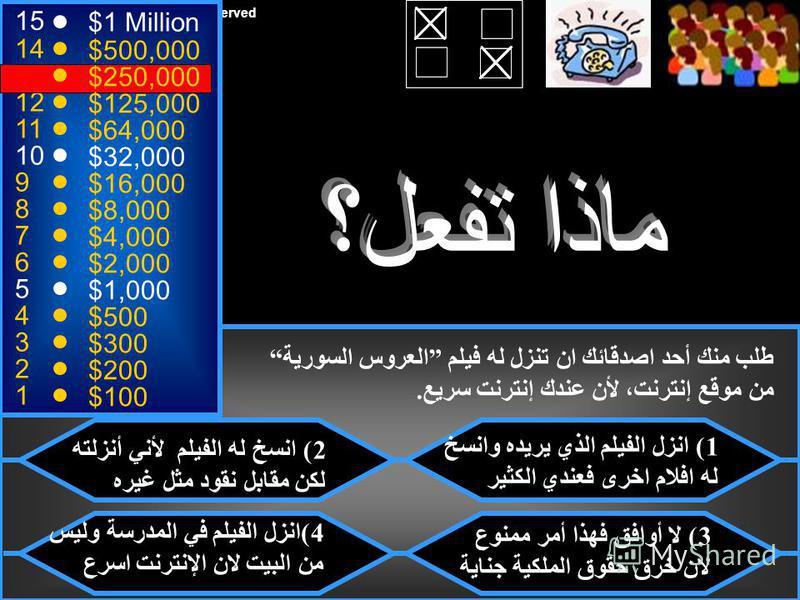 © Mark E. Damon - All Rights Reserved 15 14 13 12 11 10 9 8 7 6 5 4 3 2 1 $1 Million $500,000 $250,000 $125,000 $64,000 $32,000 $16,000 $8,000 $4,000 $2,000 $1,000 $500 $300 $200 $100 نعم، كل الإجابات صحيحة لأن في ذلك مخالفة تربوية وجنائية وأخلاقية.