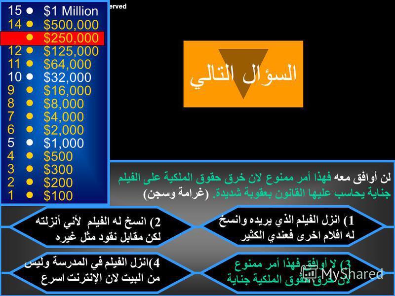 © Mark E. Damon - All Rights Reserved 15 14 13 12 11 10 9 8 7 6 5 4 3 2 1 $1 Million $500,000 $250,000 $125,000 $64,000 $32,000 $16,000 $8,000 $4,000 $2,000 $1,000 $500 $300 $200 $100 طلب منك أحد اصدقائك ان تنزل له فيلم العروس السورية من موقع إنترنت،