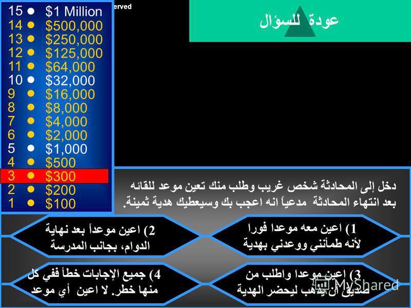 © Mark E. Damon - All Rights Reserved 15 14 13 12 11 10 9 8 7 6 5 4 3 2 1 $1 Million $500,000 $250,000 $125,000 $64,000 $32,000 $16,000 $8,000 $4,000 $2,000 $1,000 $500 $300 $200 $100 طلب منك احد الاشخاص الغرباء من الذين تحادثهم على شبكة الإنترنت رقم