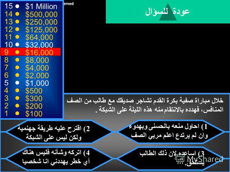 © Mark E. Damon - All Rights Reserved 15 14 13 12 11 10 9 8 7 6 5 4 3 2 1 $1 Million $500,000 $250,000 $125,000 $64,000 $32,000 $16,000 $8,000 $4,000 $2,000 $1,000 $500 $300 $200 $100 تقديراً لتحصيلك وحذرك على الشبكة ، اهداك والدك كاميرا رقمية متطورة