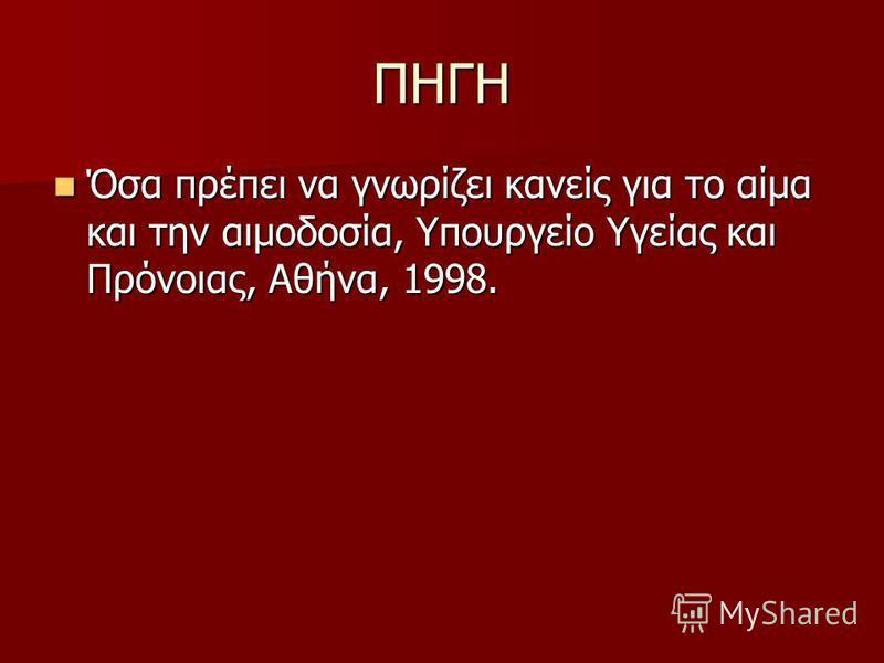 ΠΗΓΗ Όσα πρέπει να γνωρίζει κανείς για το αίμα και την αιμοδοσία, Υπουργείο Υγείας και Πρόνοιας, Αθήνα, 1998. Όσα πρέπει να γνωρίζει κανείς για το αίμα και την αιμοδοσία, Υπουργείο Υγείας και Πρόνοιας, Αθήνα, 1998.