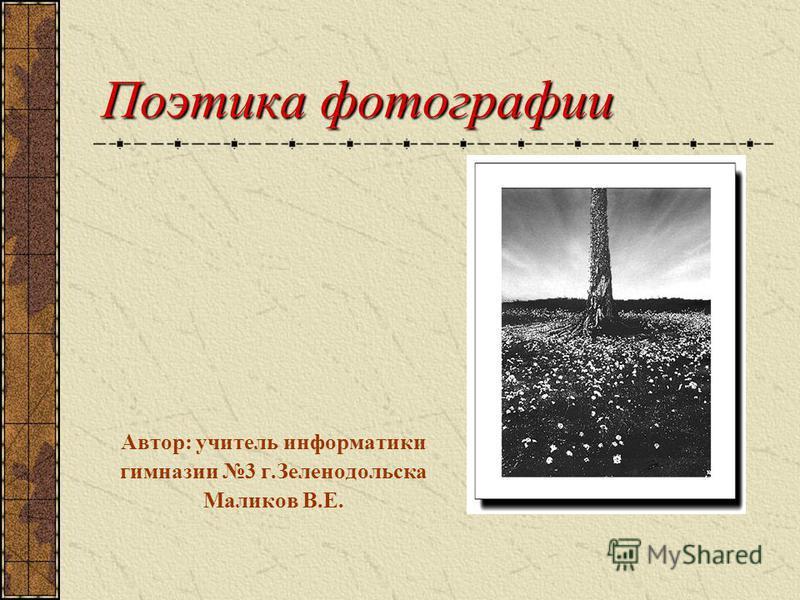 Поэтика фотографии Автор: учитель информатики гимназии 3 г.Зеленодольска Маликов В.Е.