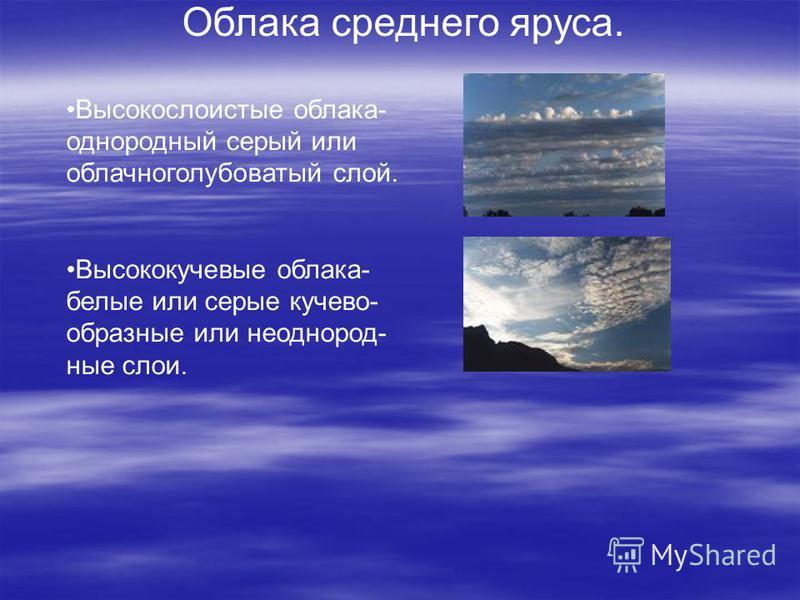 Облака среднего яруса. Высокослоистые облака- однородный серый или облачно голубоватый слой. Высококучевые облака- белые или серые кучево- образные или неоднородные слои.