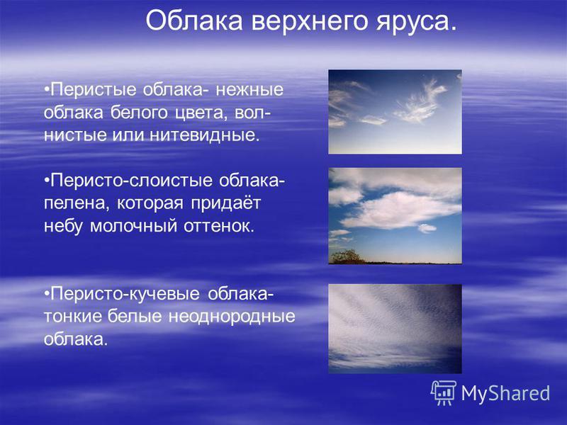 Облака верхнего яруса. Перистые облака- нежные облака белого цвета, волнистые или нитевидные. Перисто-слоистые облака- пелена, которая придаёт небу молочный оттенок. Перисто-кучевые облака- тонкие белые неоднородные облака.