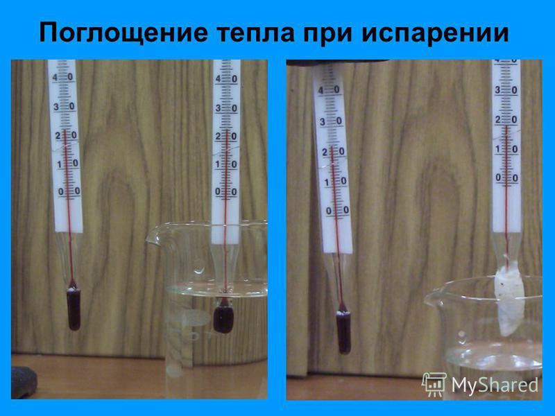 Поглощение тепла при испарении