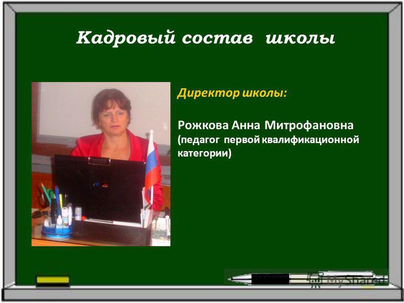Кадровый состав школы Директор школы: Рожкова Анна Митрофановна (педагог первой квалификационной категории)
