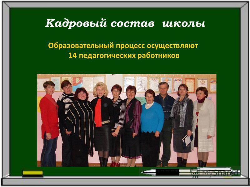 Кадровый состав школы Образовательный процесс осуществляют 14 педагогических работников