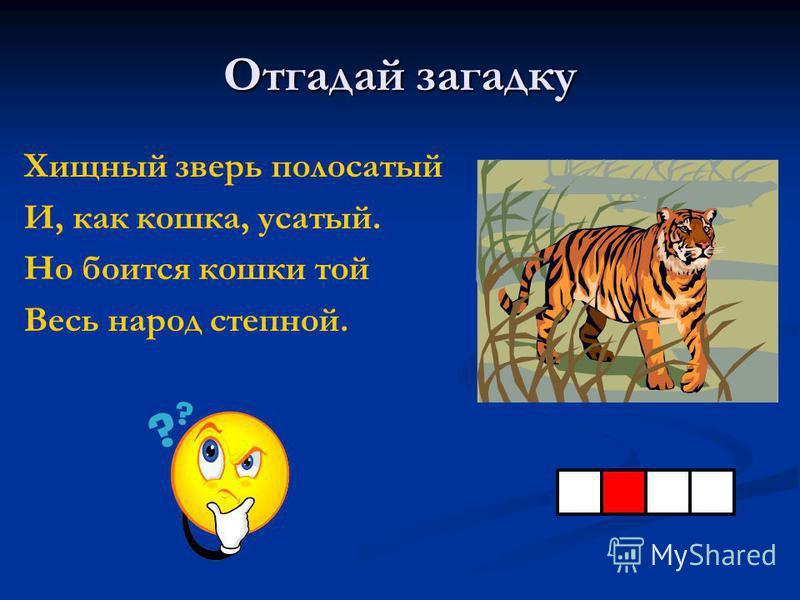 Отгадай загадку Хищный зверь полосатый И, как кошка, усатый. Но боится кошки той Весь народ степной.