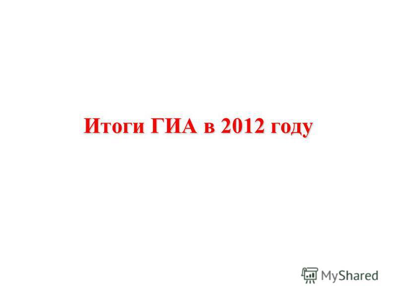 Итоги ГИА в 2012 году