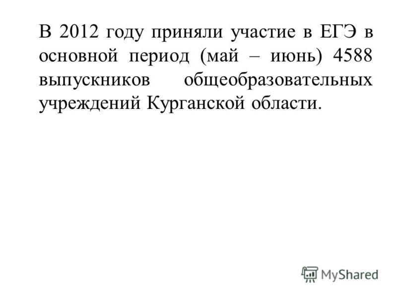 В 2012 году приняли участие в ЕГЭ в основной период (май – июнь) 4588 выпускников общеобразовательных учреждений Курганской области.