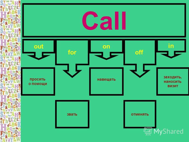 Call out for on in off просить о помощи отменять навещать заходить, наносить визит звать