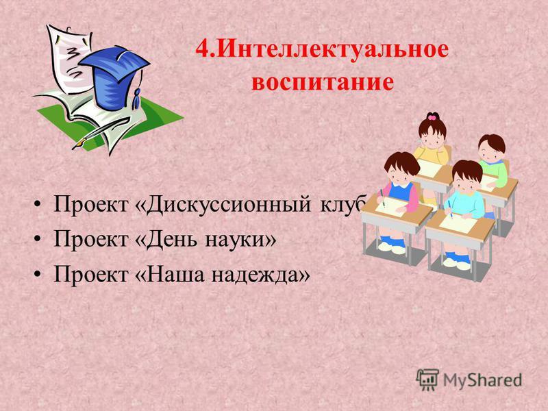 4. Интеллектуальное воспитание Проект «Дискуссионный клуб» Проект «День науки» Проект «Наша надежда»