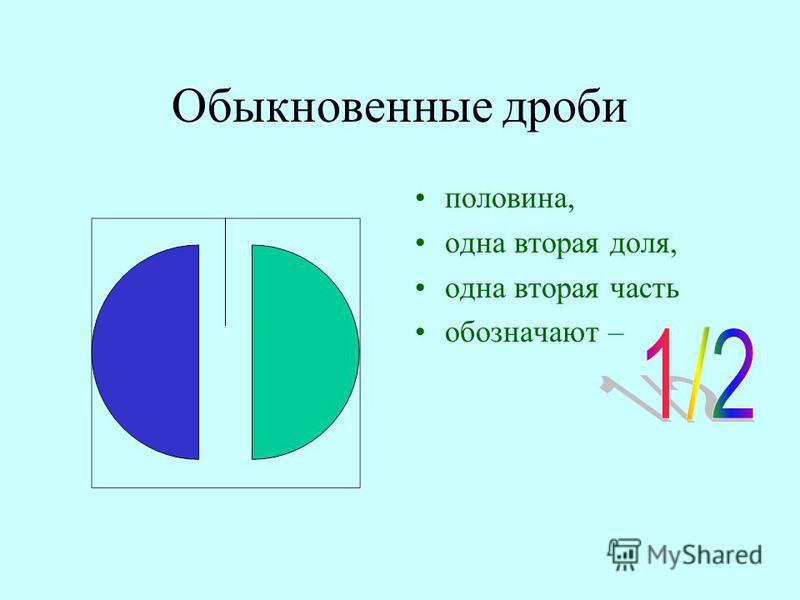 Обыкновенные дроби половина, одна вторая доля, одна вторая часть обозначают –