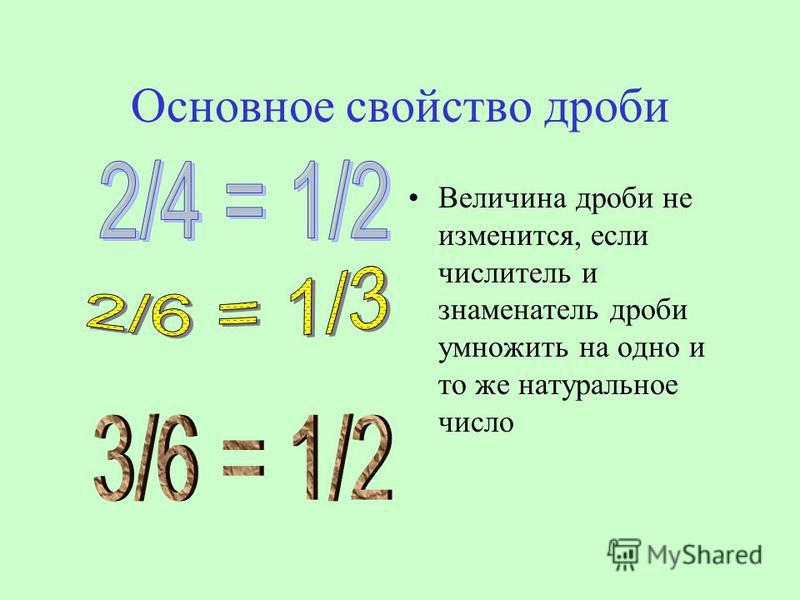 Основное свойство дроби Величина дроби не изменится, если числитель и знаменатель дроби умножить на одно и то же натуральное число