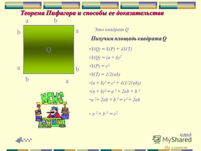 Теорема Пифагора и способы ее доказательства c c c c P Четырехугольник Р является квадратом (Все стороны равны, углы прямые) Равенство углов в четырехугольнике Р доказывается следующим образом: Пусть а и b – величины острых углов треугольника Тогда а