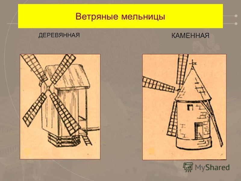 Ветряные мельницы ДЕРЕВЯННАЯ КАМЕННАЯ