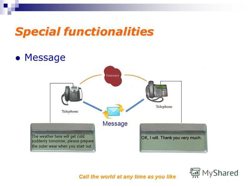 Call the world at any time as you like Special functionalities Message