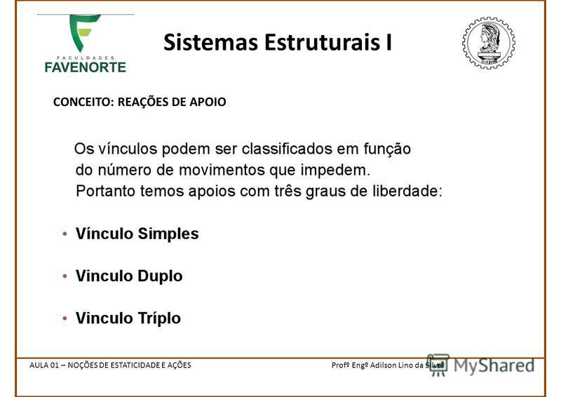 Sistemas Estruturais I CONCEITO: REAÇÕES DE APOIO Profº Engº Adilson Lino da SilvaAULA 01 – NOÇÕES DE ESTATICIDADE E AÇÕES