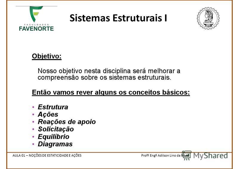 Sistemas Estruturais I Profº Engº Adilson Lino da SilvaAULA 01 – NOÇÕES DE ESTATICIDADE E AÇÕES