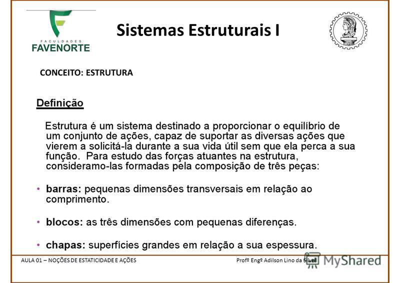 Sistemas Estruturais I CONCEITO: ESTRUTURA Profº Engº Adilson Lino da SilvaAULA 01 – NOÇÕES DE ESTATICIDADE E AÇÕES