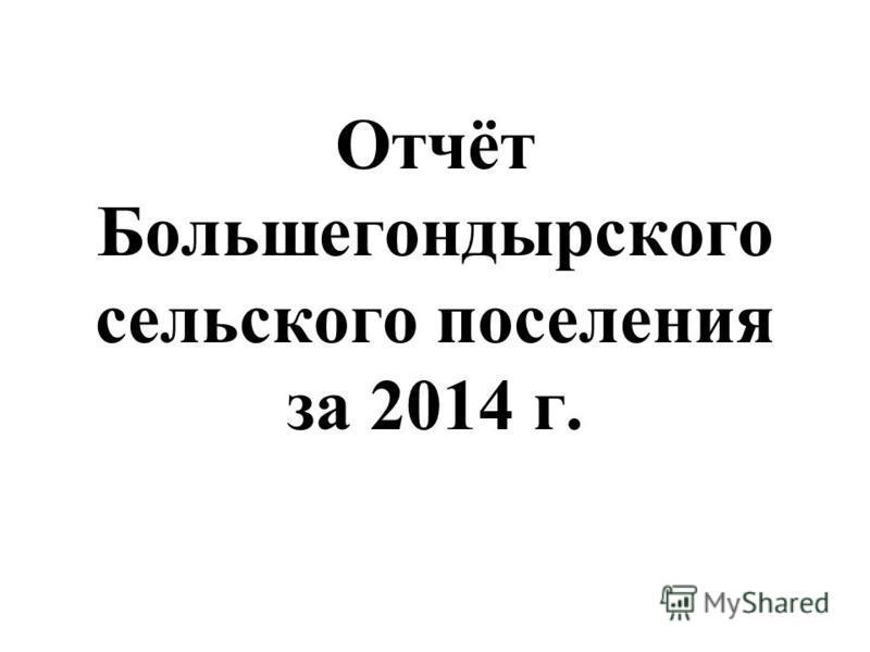 Отчёт Большегондырского сельского поселения за 2014 г.
